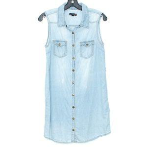 Guess Dress Chambray Button Sleeveless Small H2